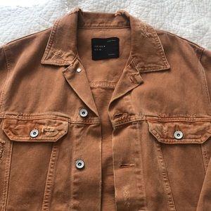 ZARA Men's Denim Jacket in Orange